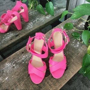 J Crew neon pink heels - so comfy and cute!